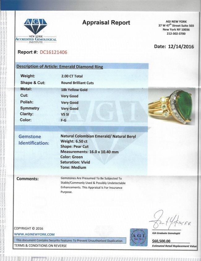18k Yellow Gold, 8.5CT Colombian Emerald & Diamond Ring - 4