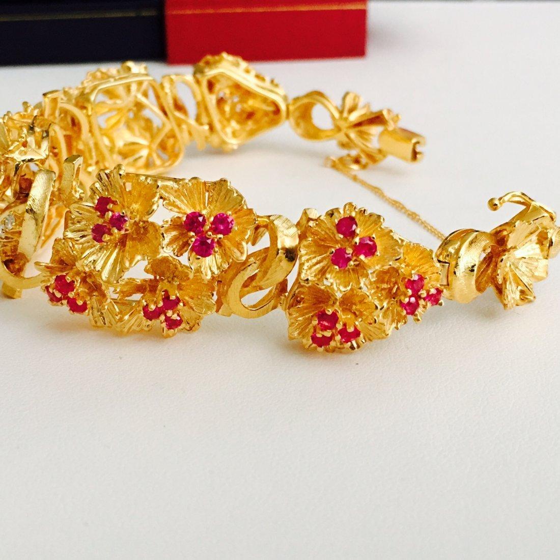 Vinatge 18K Gold 7 CARAT Burma Ruby Diamond Bracelet - 2