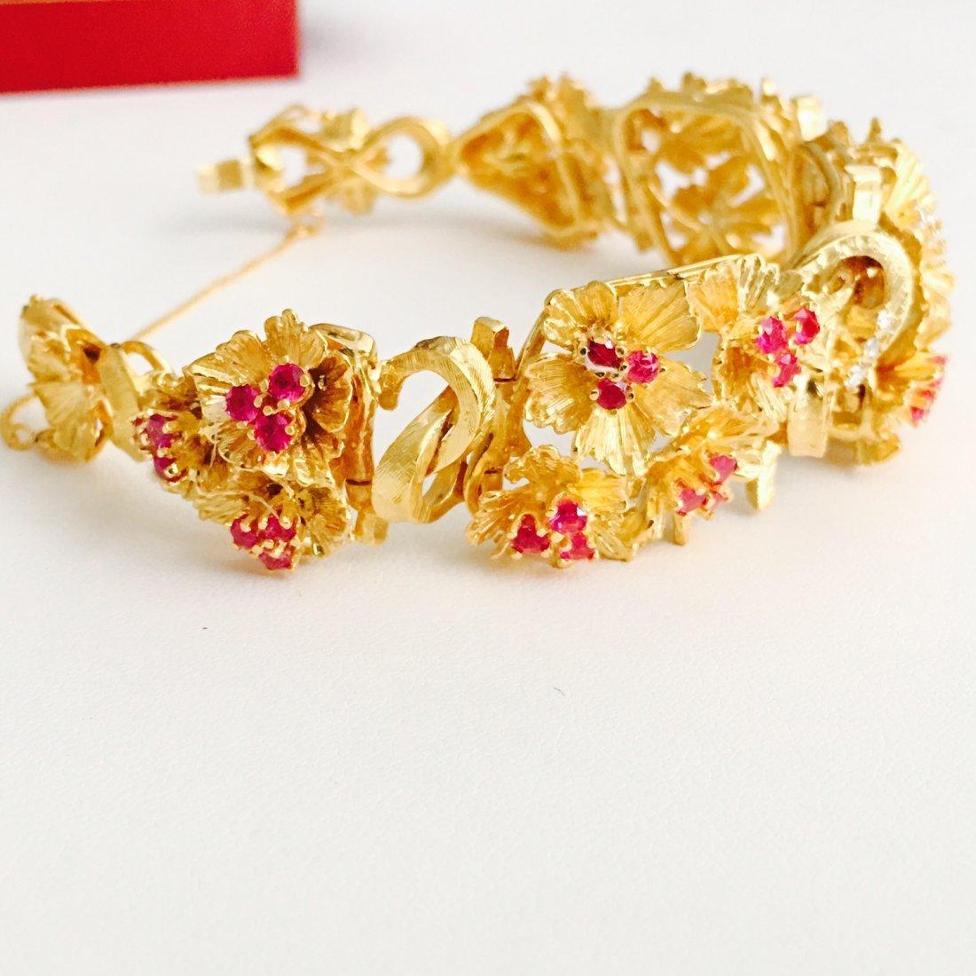 Vinatge 18K Gold 7 CARAT Burma Ruby Diamond Bracelet - 4