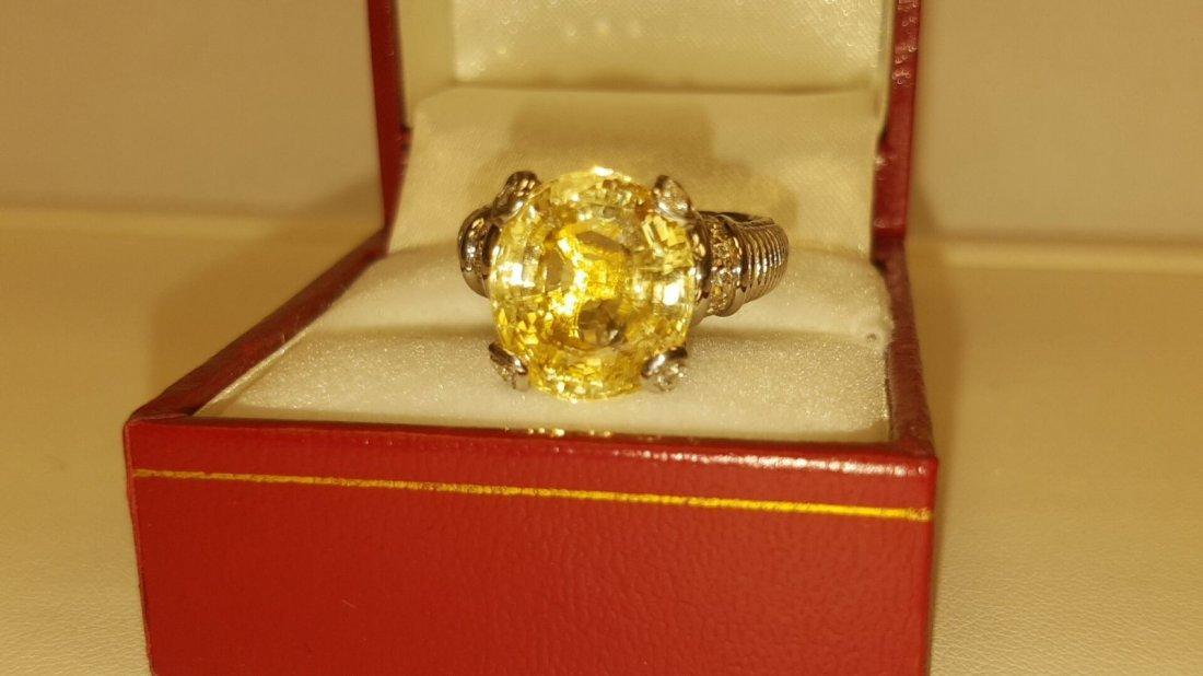 18k 11.11 Carat NO HEAT Yellow SAPPHIRE & Diamond Ring