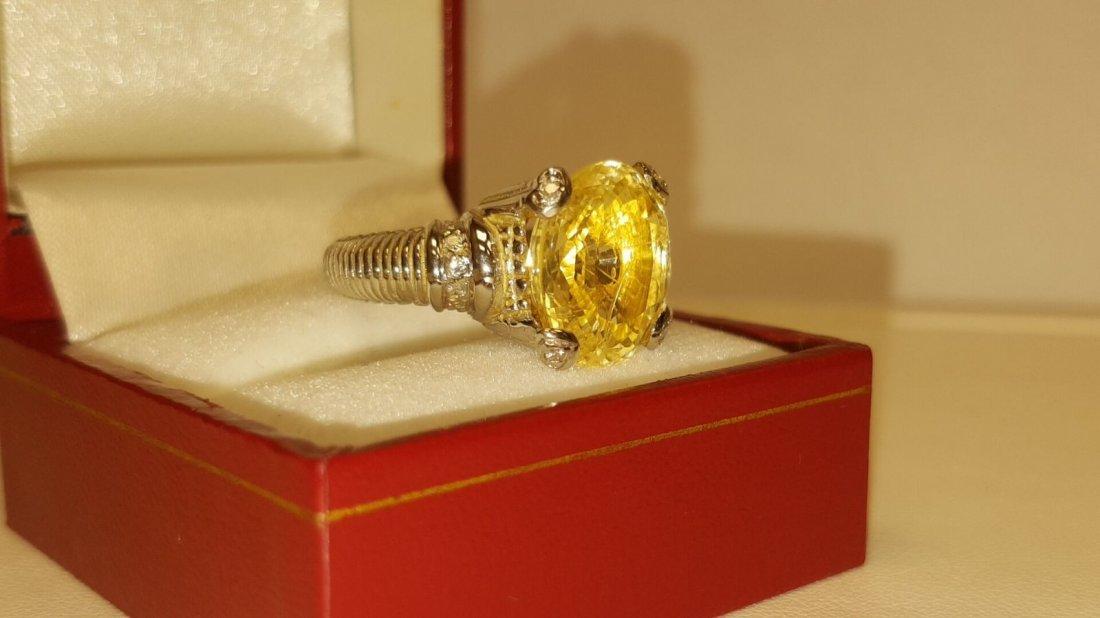 18k 11.11 Carat NO HEAT Yellow SAPPHIRE & Diamond Ring - 2