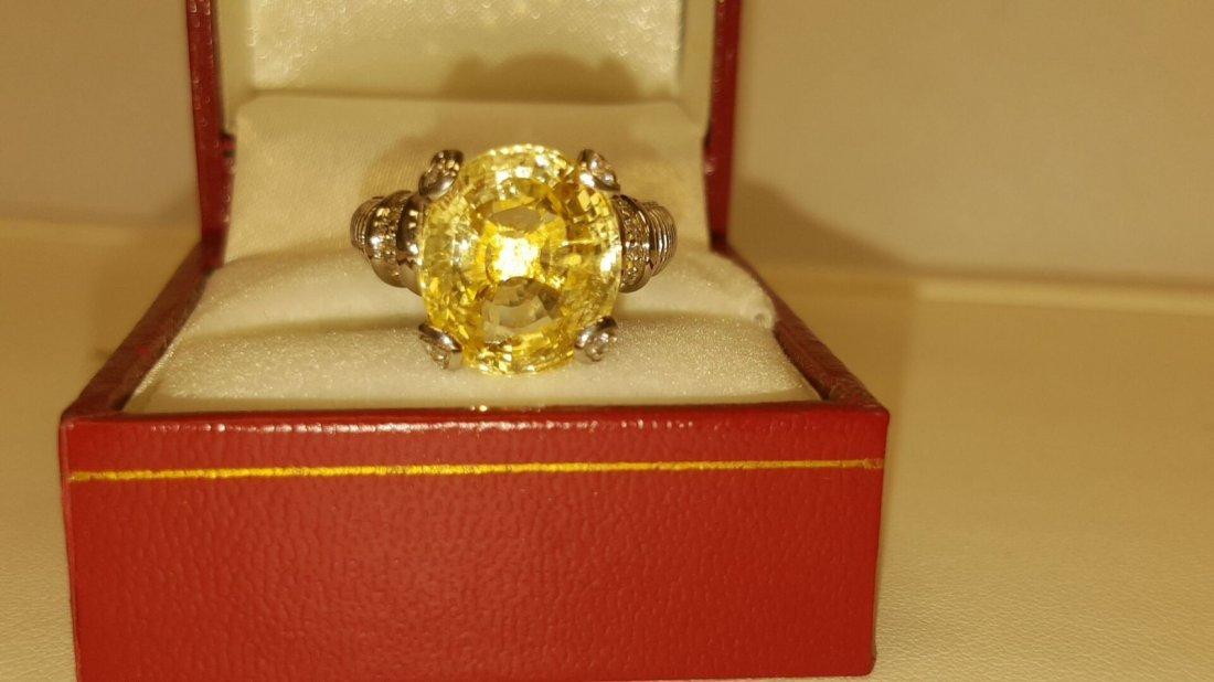 18k 11.11 Carat NO HEAT Yellow SAPPHIRE & Diamond Ring - 3