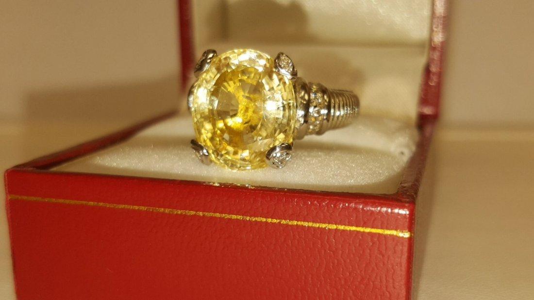 18k 11.11 Carat NO HEAT Yellow SAPPHIRE & Diamond Ring - 4