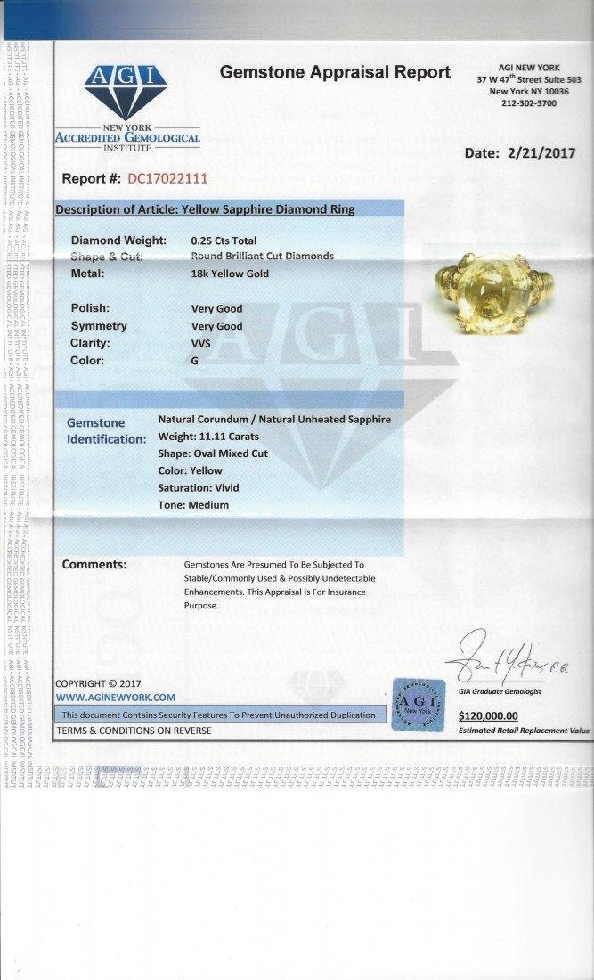 18k 11.11 Carat NO HEAT Yellow SAPPHIRE & Diamond Ring - 6
