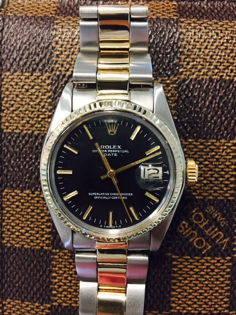 Rolex Date Two Tone Oyster Band Black Dial Watch