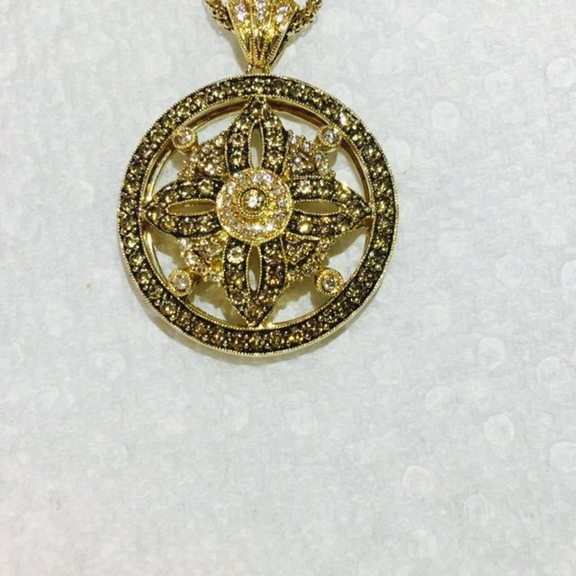 14K Gold LeVian White & Chocolate Diamond Necklace - 3