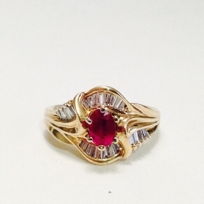 14k Yellow gold JBR Hallmark DIAMOND AND RUBY RING