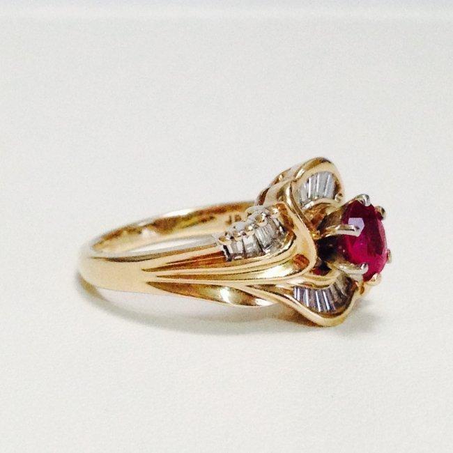 14k Yellow gold JBR Hallmark DIAMOND AND RUBY RING - 2