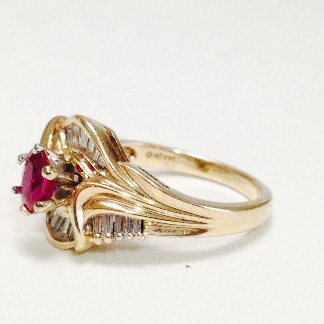 14k Yellow gold JBR Hallmark DIAMOND AND RUBY RING - 3