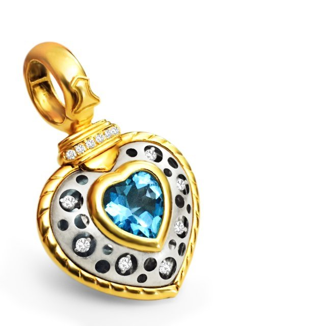 18K, Natasha C Signature PC Diamond and Topaz Pendant