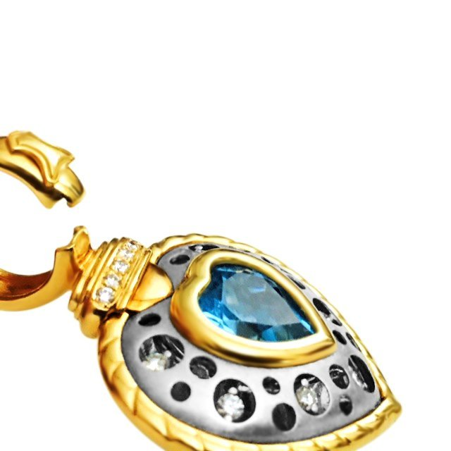 18K, Natasha C Signature PC Diamond and Topaz Pendant - 5