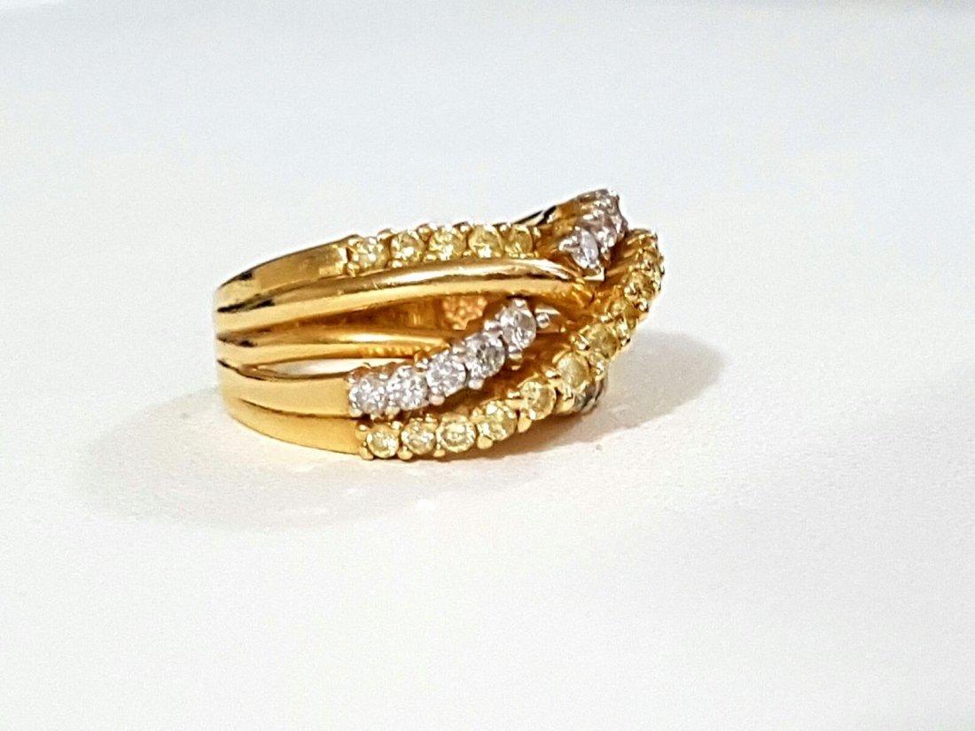 14k Gold Fancy Yellow Diamond and White Diamond Ring - 2
