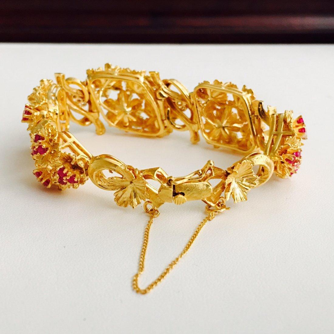 Vinatge 18K Gold 7 CARAT Burma Ruby Diamond Bracelet - 3