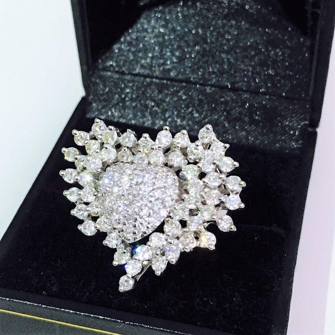 14k Gold. Heart Shape 4.50 Carat Diamond Ring