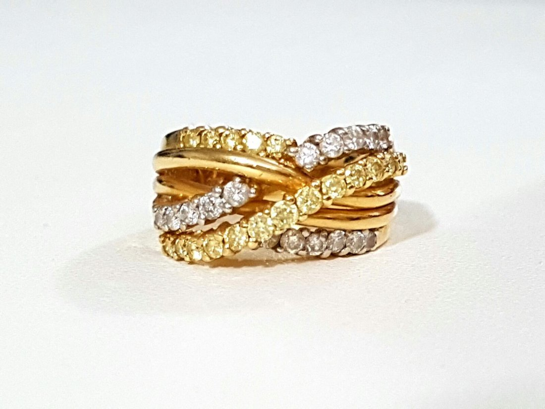 14k Gold Fancy Yellow Diamond and White Diamond Ring