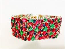 18K Gold - Burma Ruby, Blue Sapphire, Emerald Bracelet