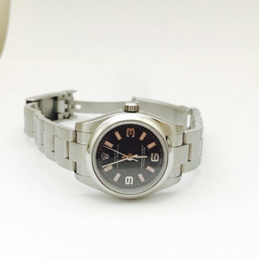 Rolex Oyster Perpetual Ladies Black Arabic Dial