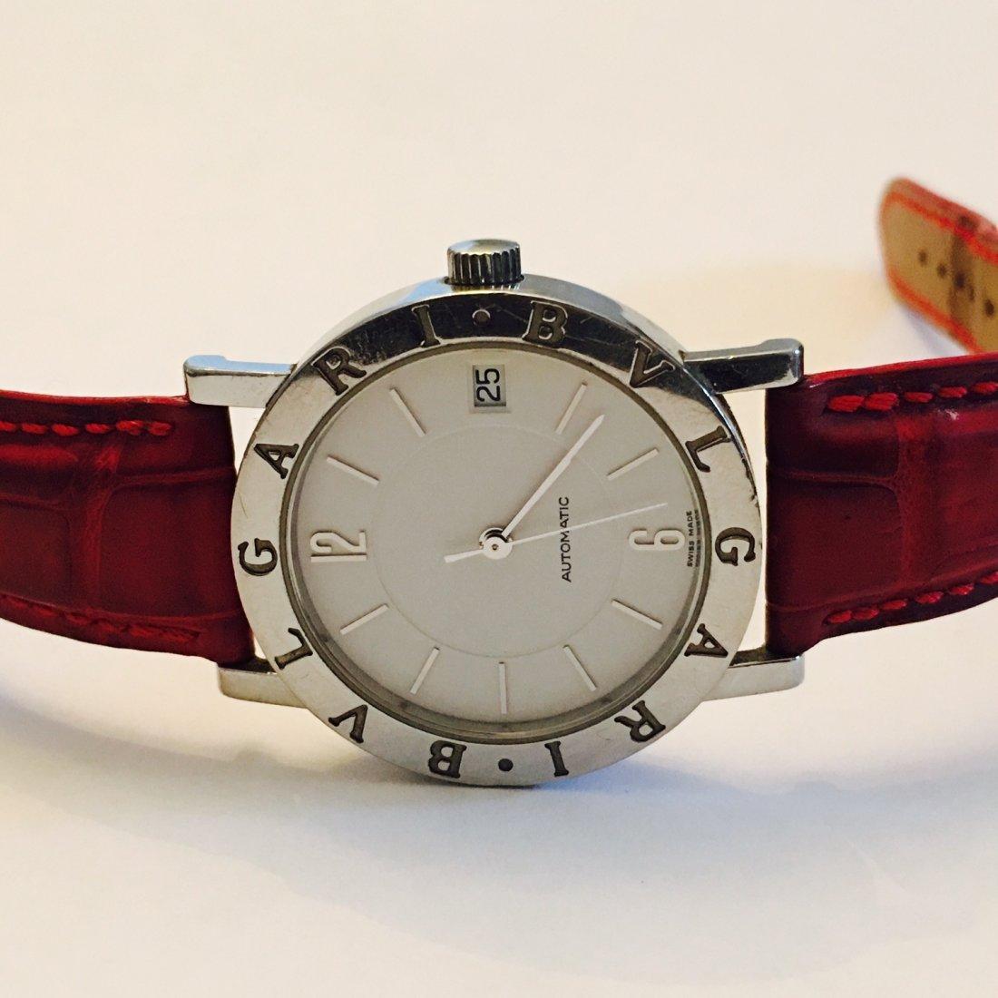 BVLGARI Watch with Crimson Leather Belt