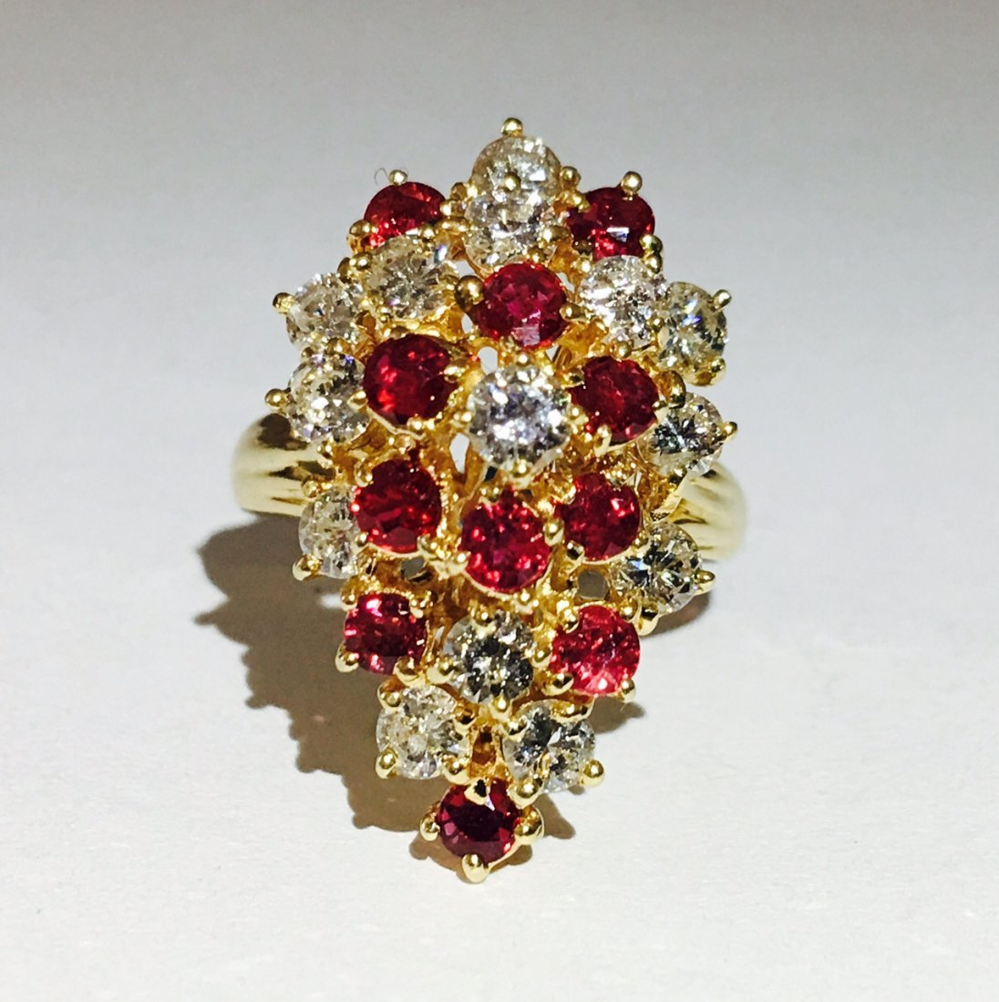 14K Gold Cocktail RUBY& DIAMOND Ring