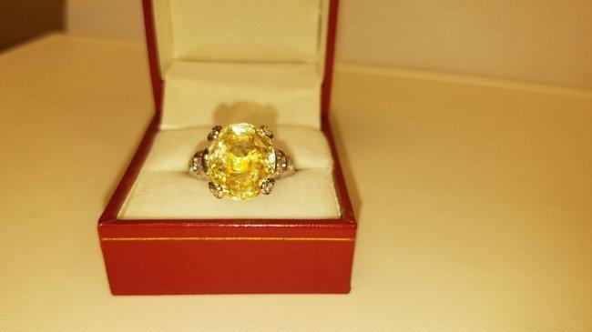 18K Gold No heat Yellow sapphire & Diamond Ring AGI NY - 3
