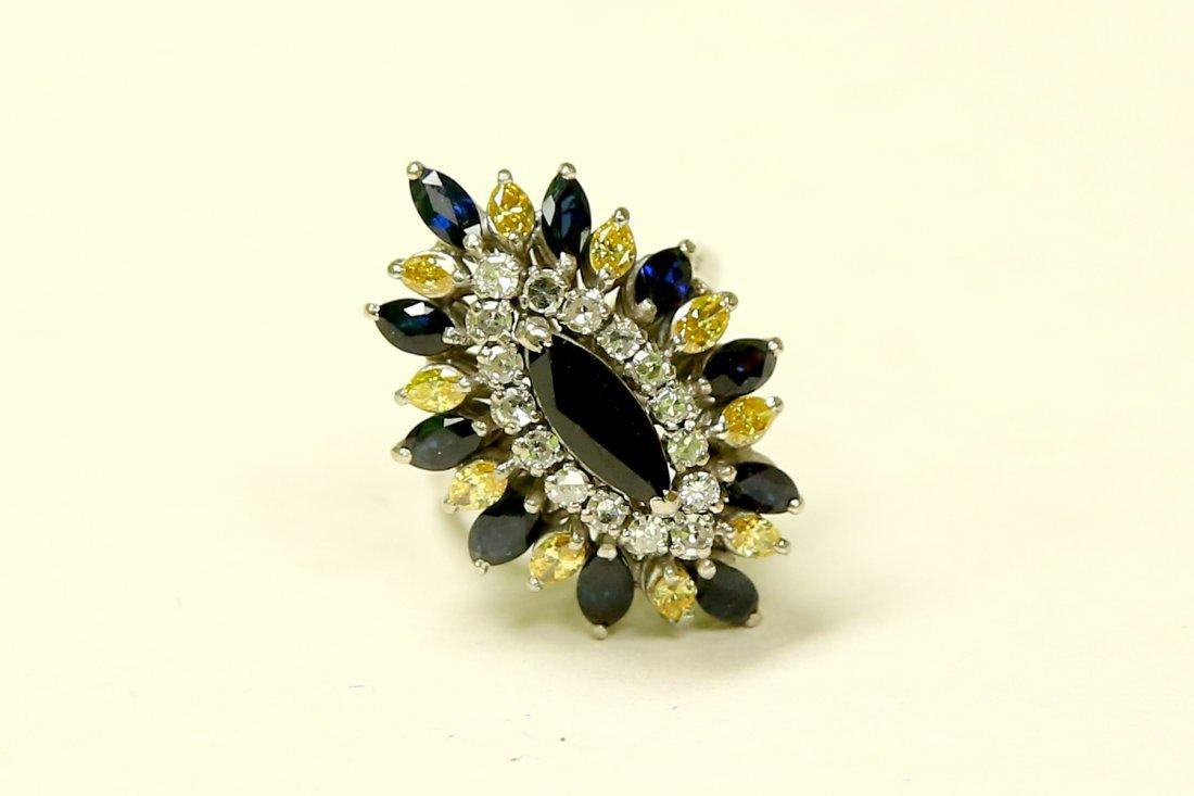 18k Diamond Blue Sapphire & Yellow Diamond Vintage RING
