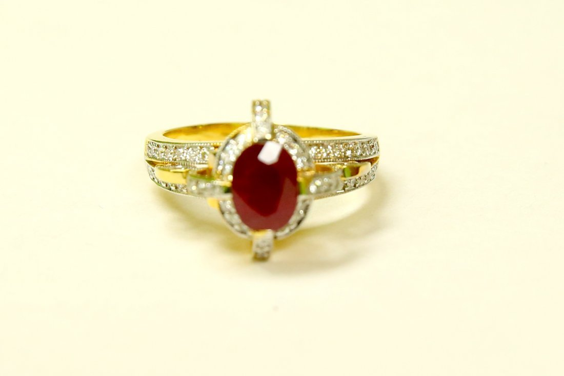 18K YELLOW GOLD DIAMOND AND 100% NATURAL RED RUBY RING