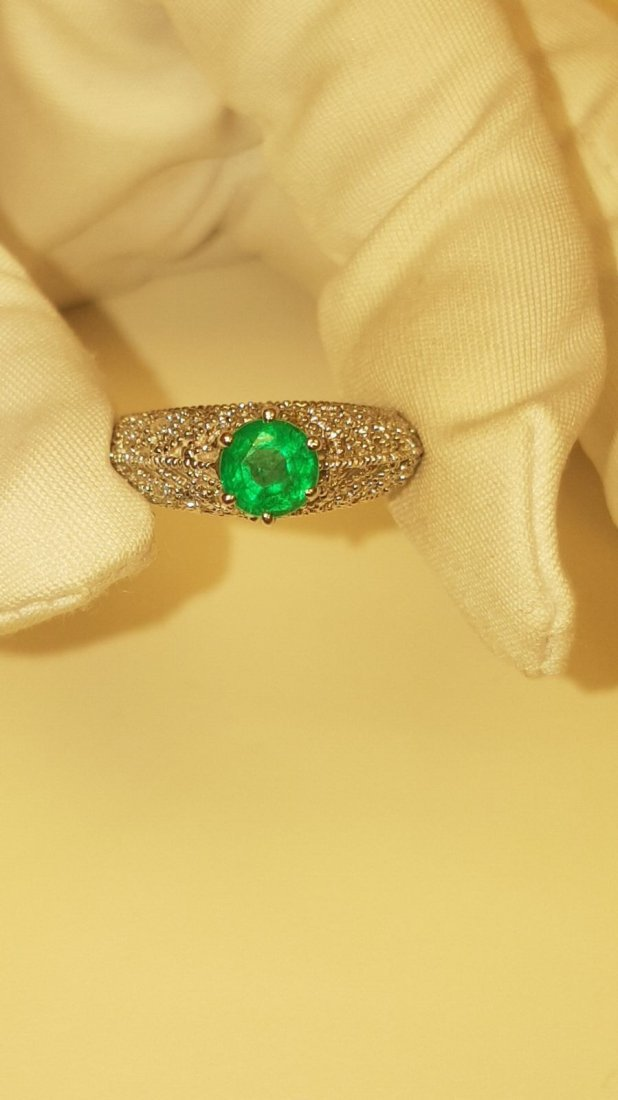 14K Gold, 3.00 Carat Diamond and Colombian Emerald Ring
