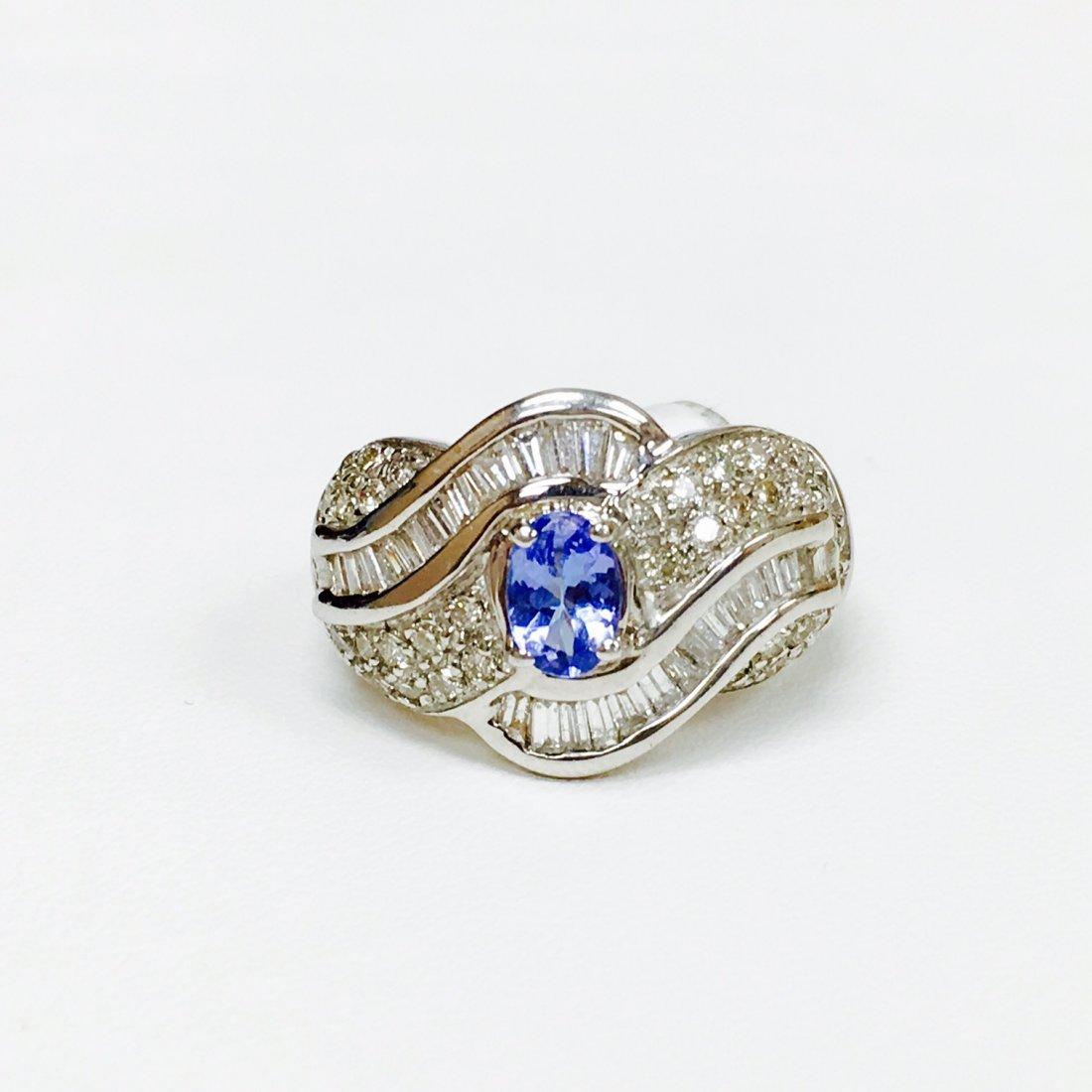 1.75 Carat Diamond and Blue Sapphire Ring
