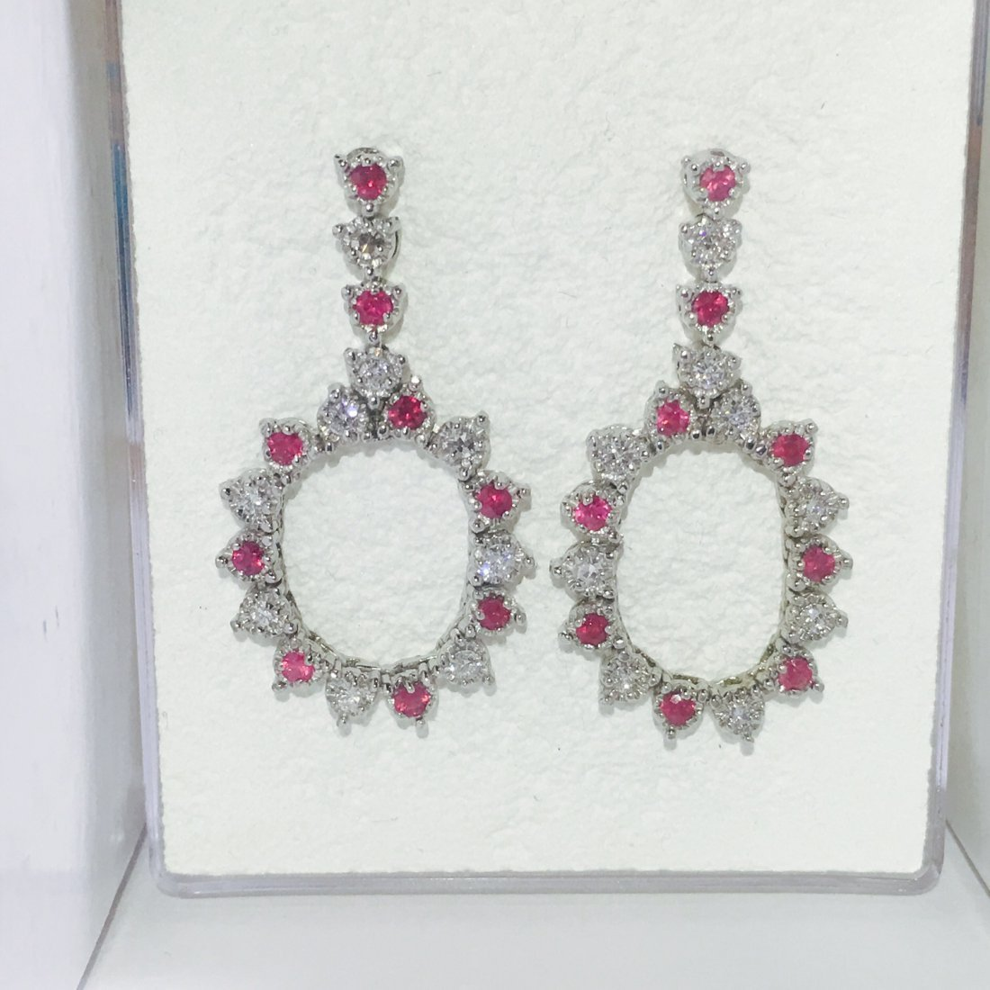 14K Gold, Super Gem Burma Ruby and VS Diamond Earrings