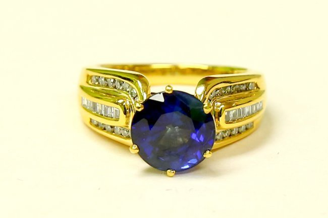 14K, Natural 7.00 ct Blue Sapphire & Diamond Ring