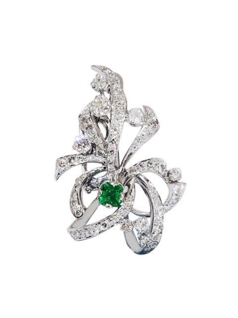 7.50 Carat VVS Diamond and Colombian Emerald Pin