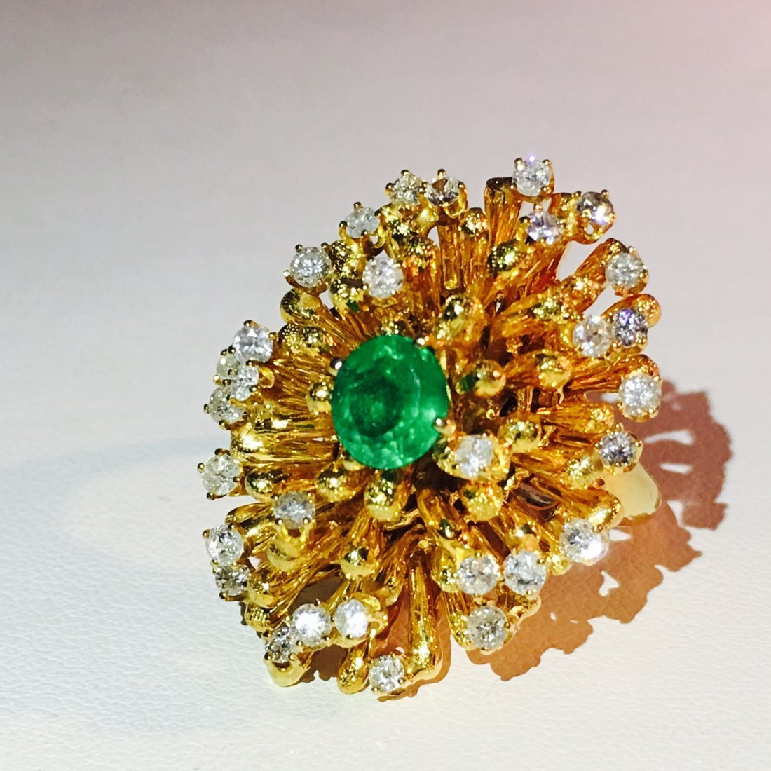 18k Gold Emerald and Diamond Cocktail Ring
