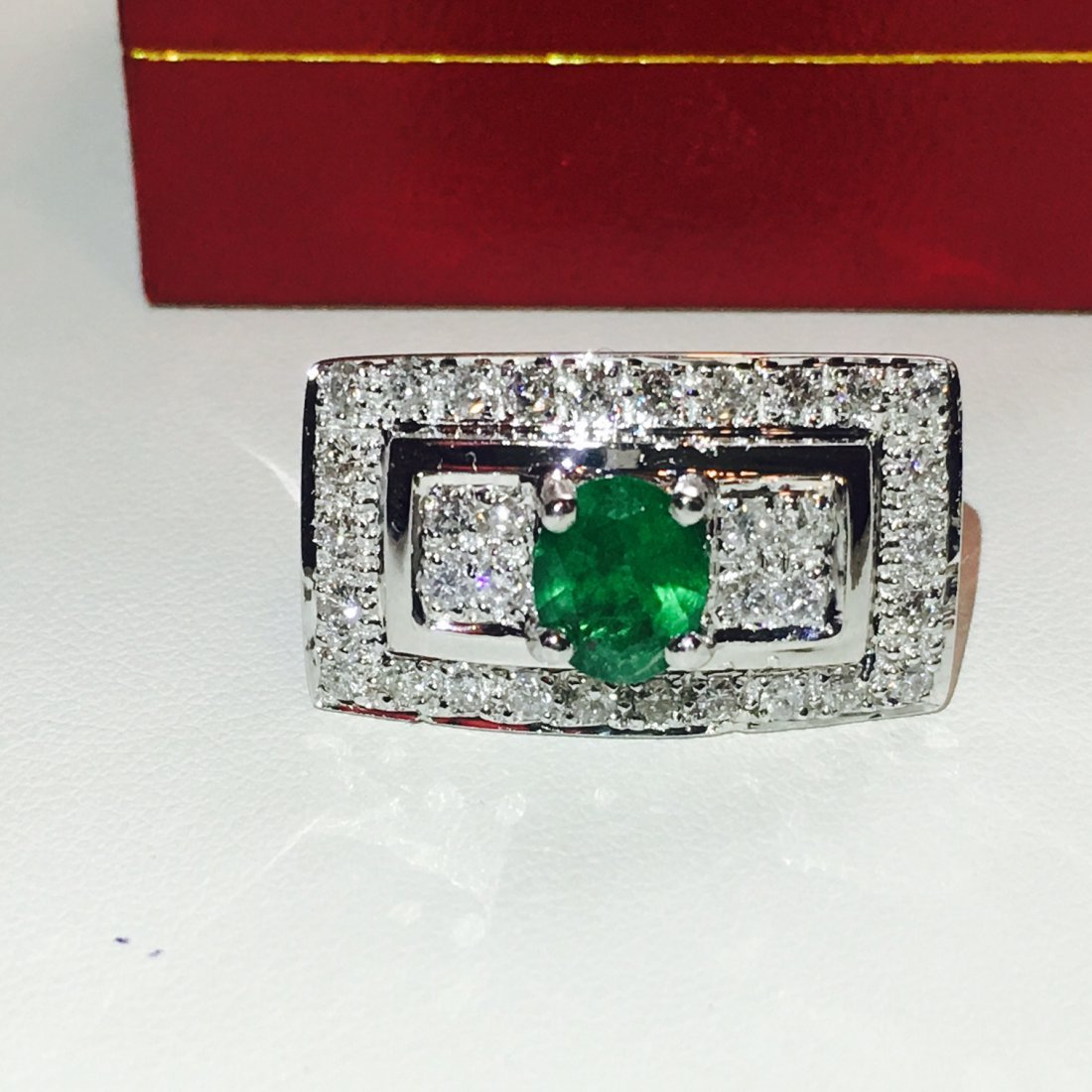 Platinum and 2.75 carat diamond & Emerald Ring