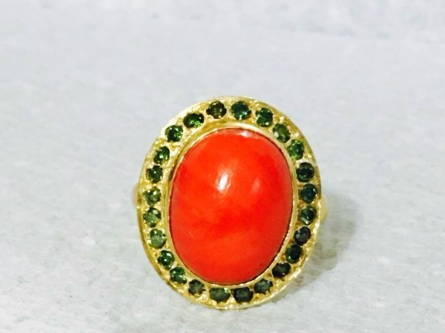 21K Gold Diamond And Coral Ring