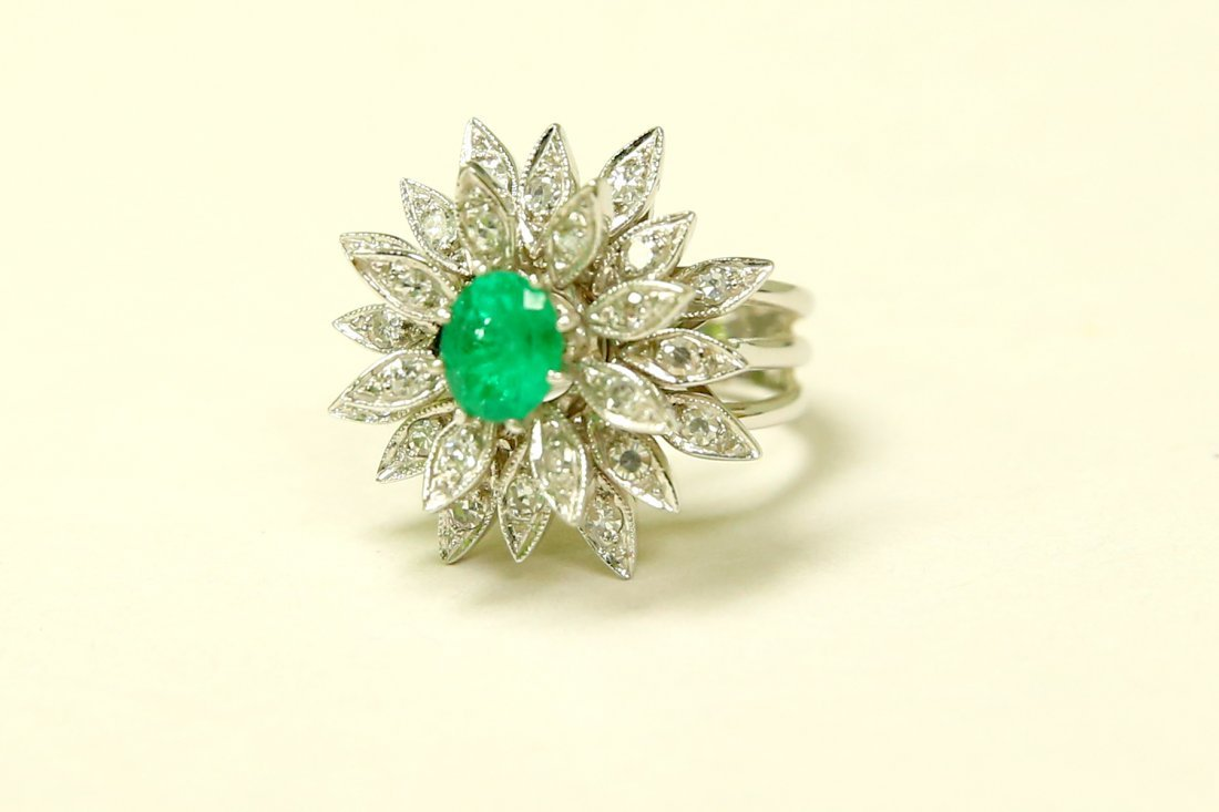 14K White Gold, Emerald & Diamond Cocktail Ring