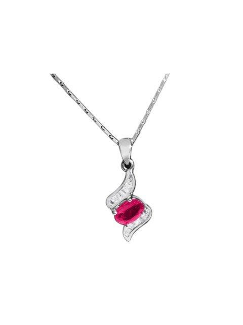18K Gold Burma Ruby And Diamond Necklace