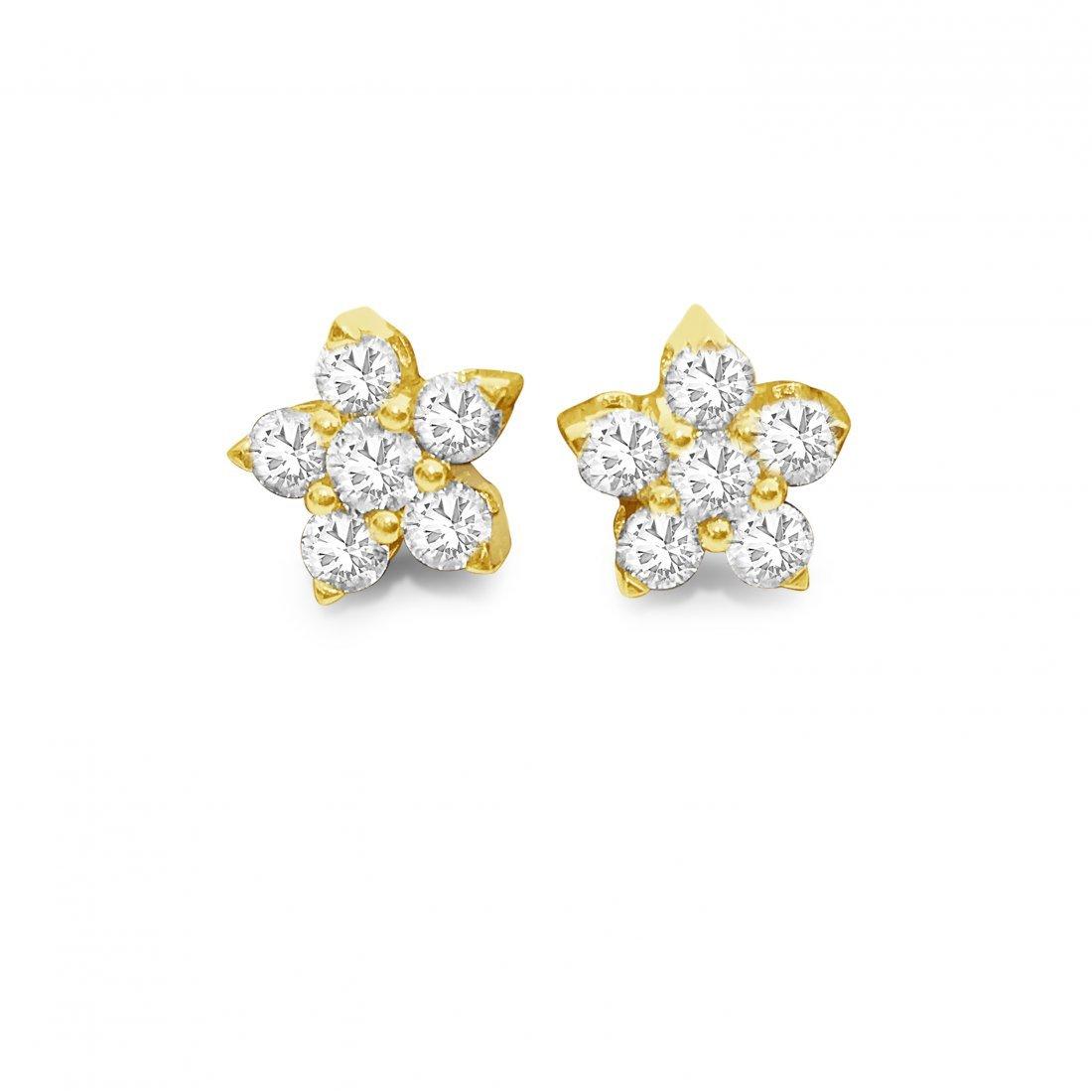 14K Gold Star Diamond Earrings
