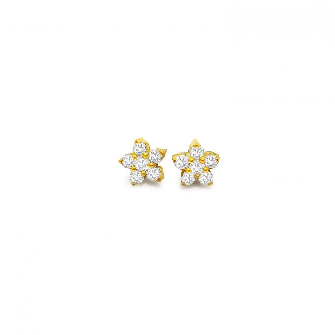 14K Gold Star Diamond Earrings - 2