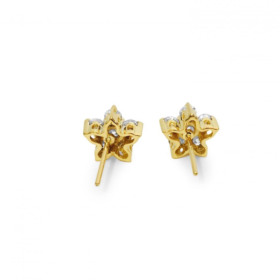 14K Gold Star Diamond Earrings - 3