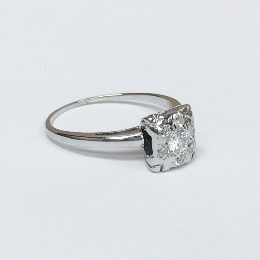 14K White Gold, VVS Clarity Diamond Ring - 2