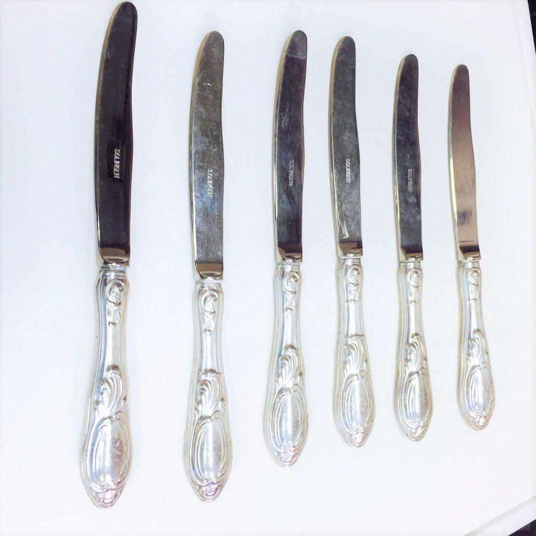 """Antique """"800"""" Sterling Silver Solingen Knife Set (5 PC)"""