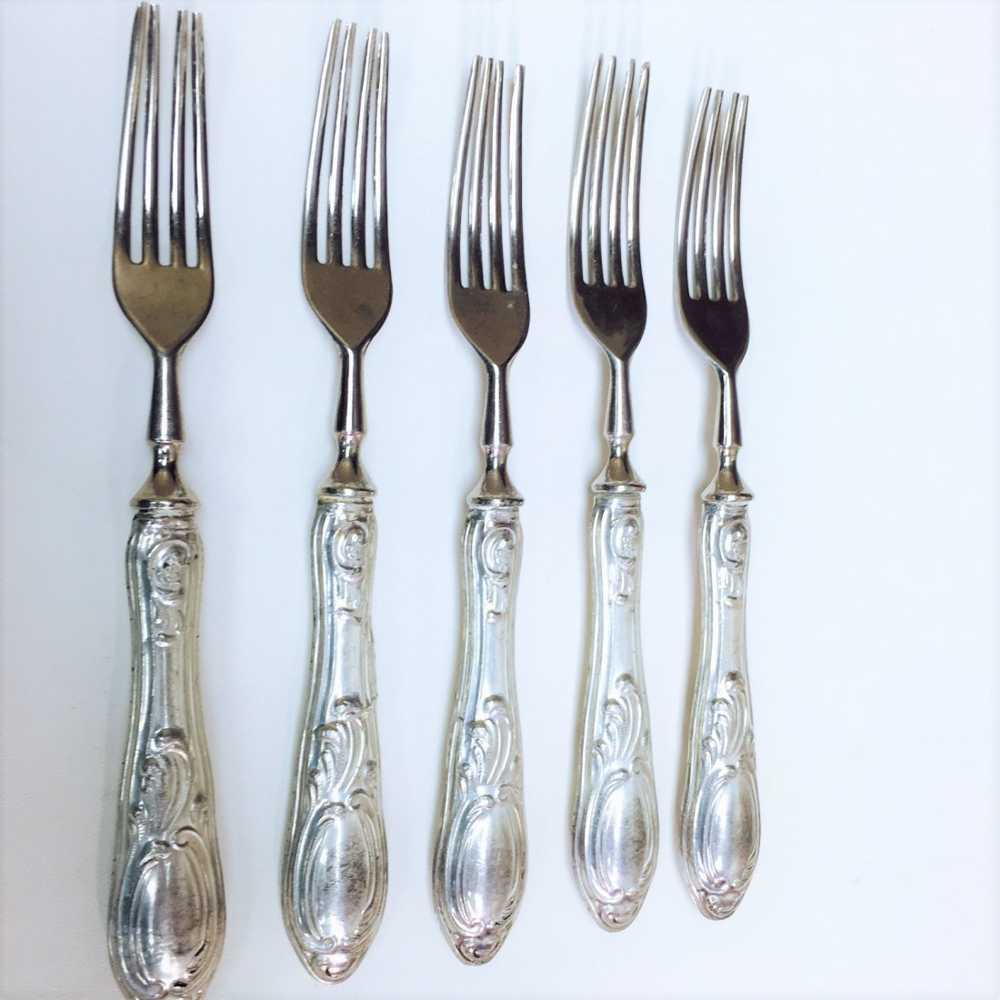 "Antique ""800"" Sterling Silver Solingen Fork Set (5 PC)"