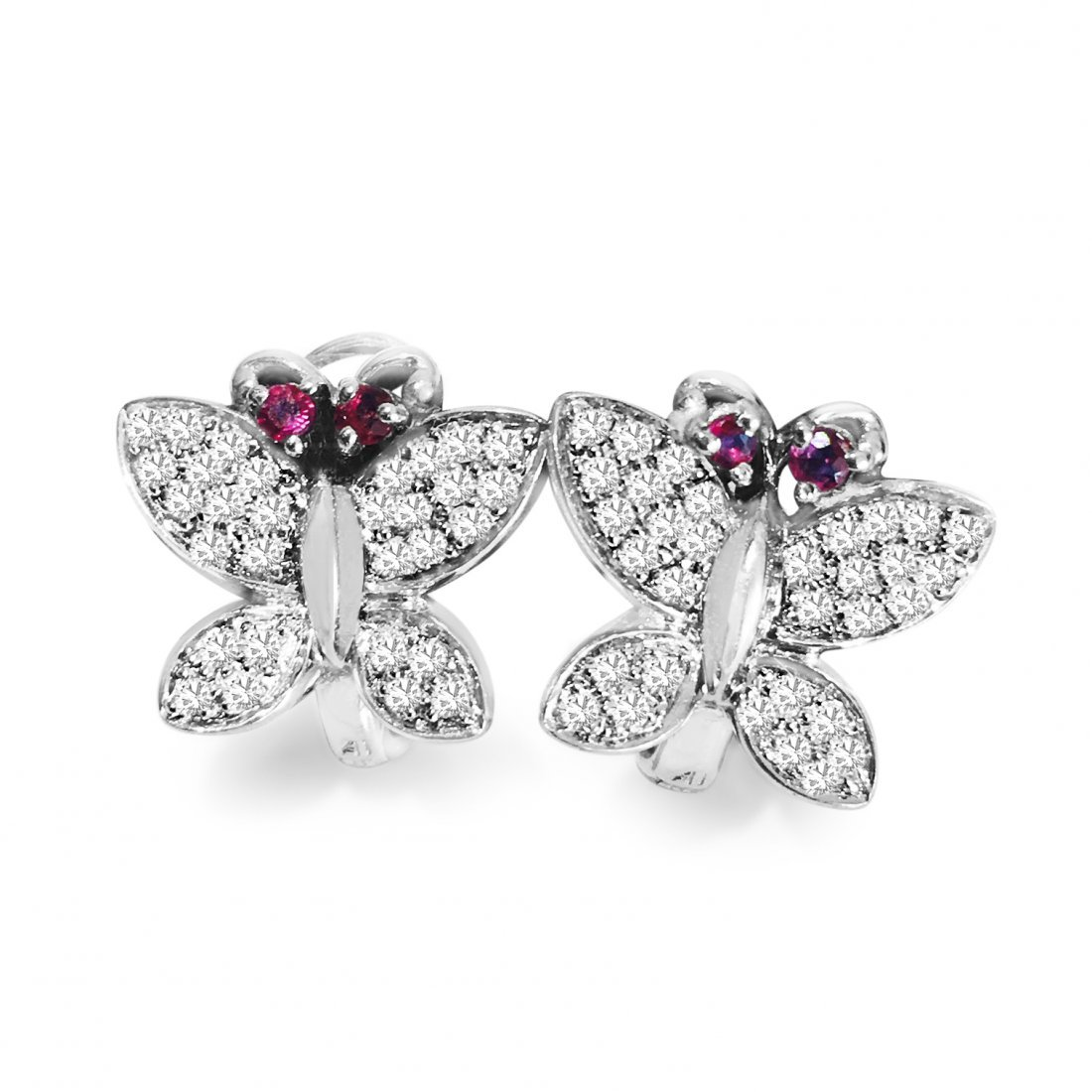 14k Gold 1.30 Carat Diamond and Ruby Butterfly Earrings