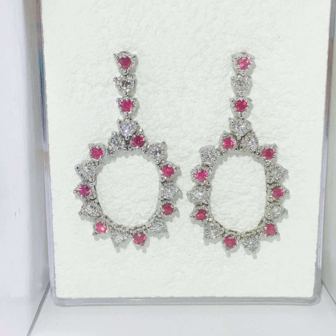 14K Gold, Super Gem Burma Ruby and VS Diamond Earrings