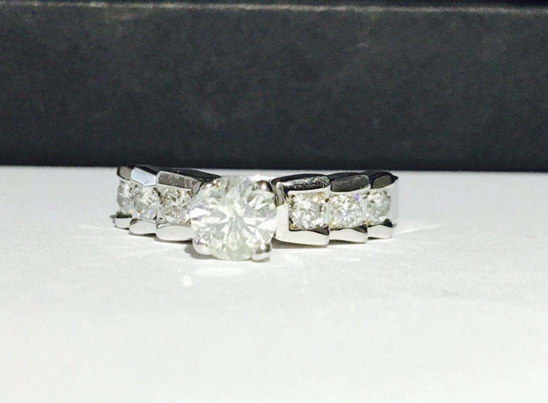 14K White Gold. 1.20 ct Diamond Step Ring. US HALLMARK