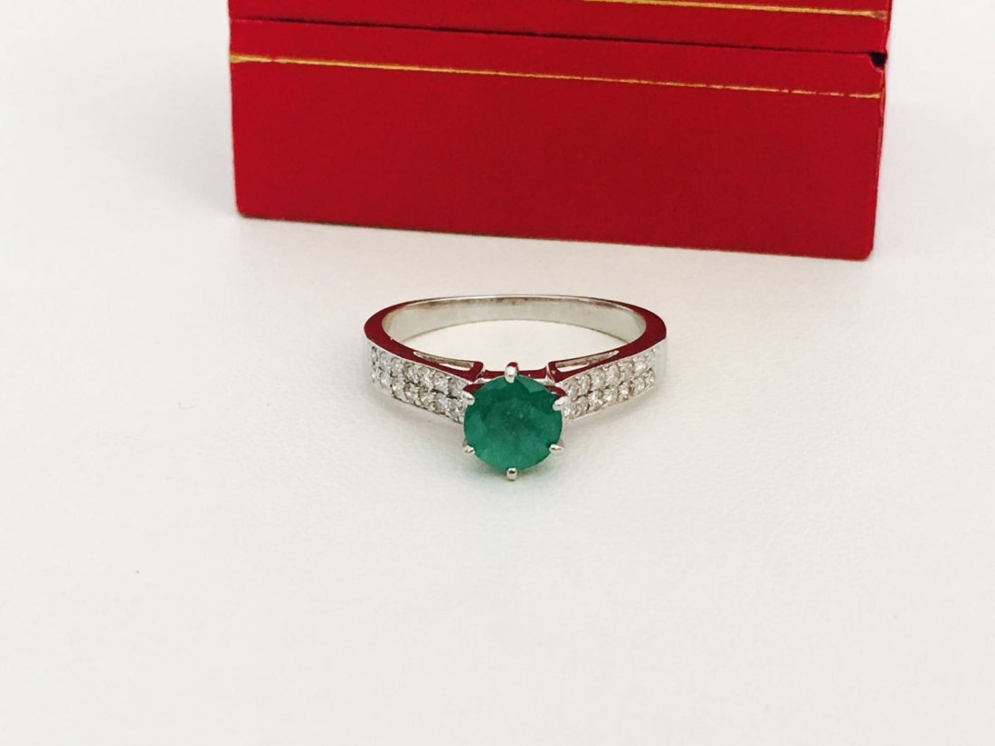 14K gold, 0.50 carat Colombian Emerald and Diamond Ring