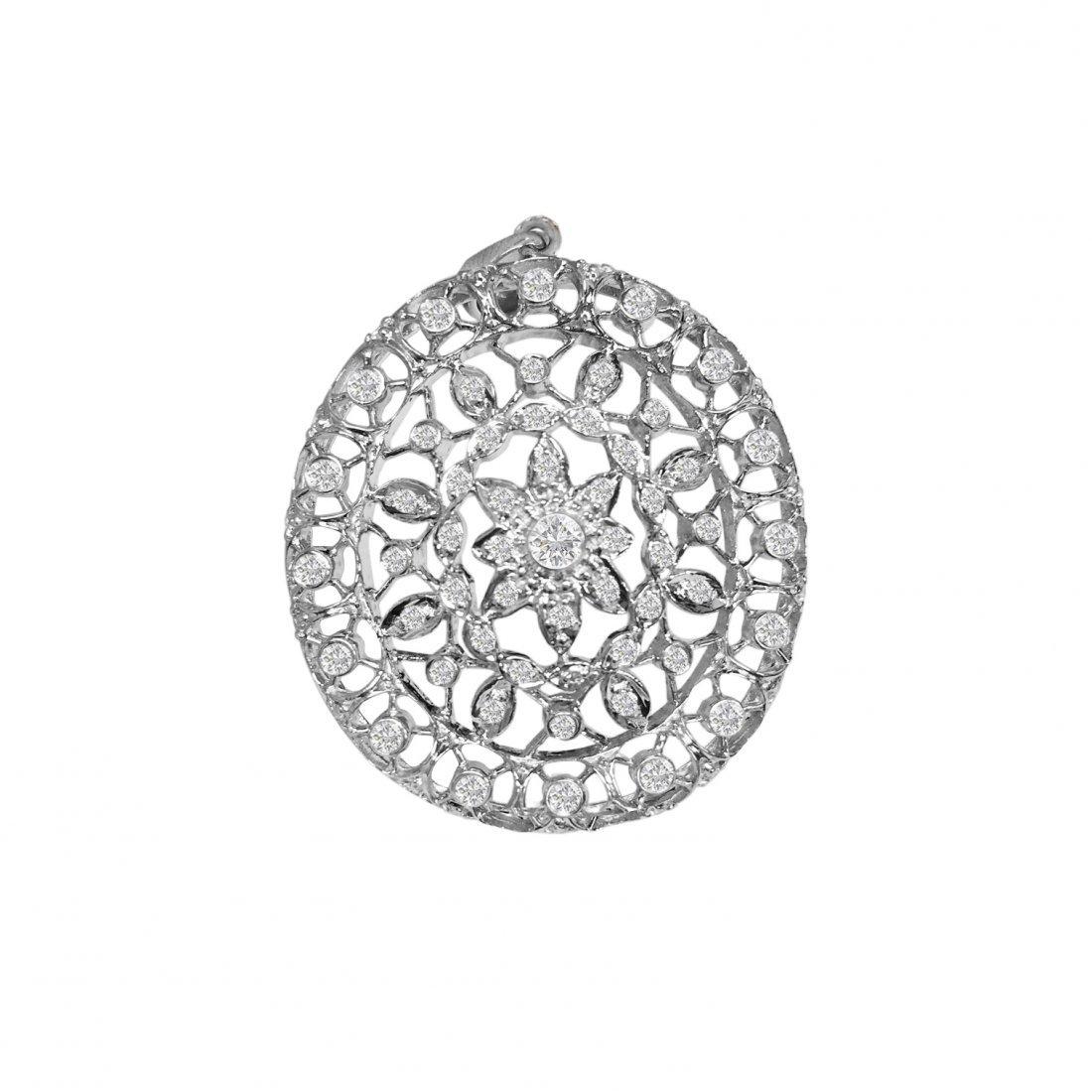 18k Vintage Hand Made Diamond Pendant Certified
