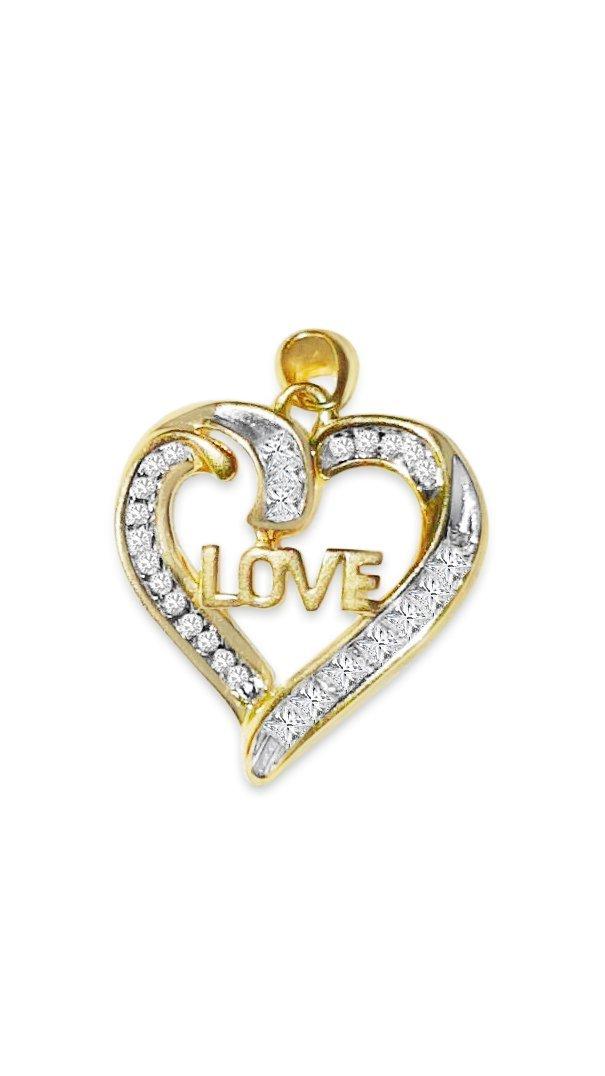 14k Gold Love Pendant White Diamonds