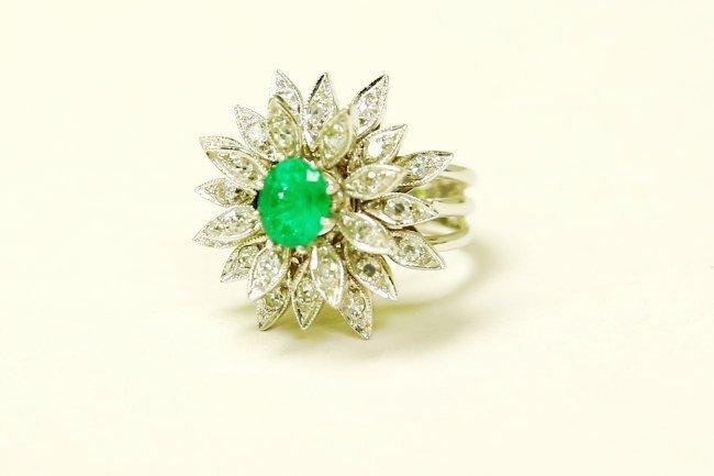 14K White Gold, Emerald & Diamond Cocktail Ring