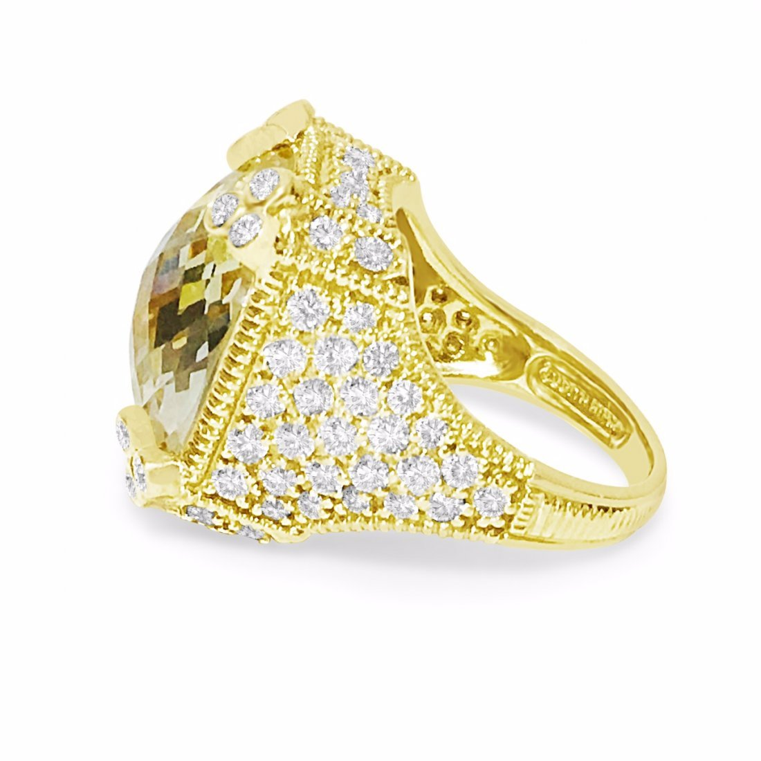 18K Gold, 25 CT Natural Yellow Stone and Diamond Ring - 2